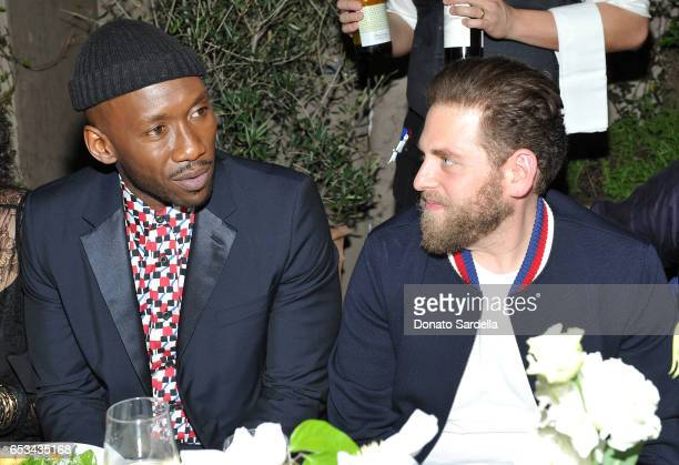 Mahershala Ali and Jonah Hill at the Power Stylists Dinner hosted by The Hollywood Reporter and Jimmy Choo on March 14 2017 in West Hollywood...