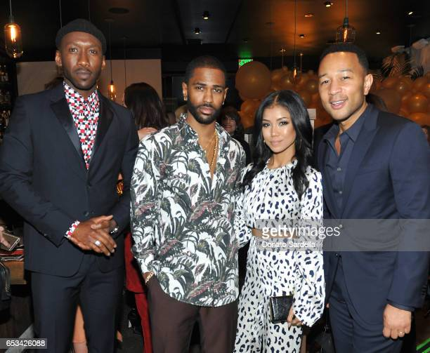 Mahershala Ali Big Sean Jhene Aiko and John Legend at the Power Stylists Dinner hosted by The Hollywood Reporter and Jimmy Choo on March 14 2017 in...