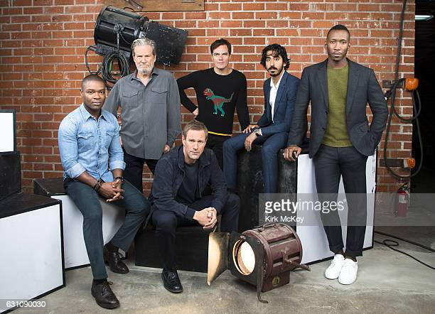 Mahershala Ali Jeff Bridges Aaron Eckhart David Oyelowo Dev Patel and Michael Shannon are photographed for Los Angeles Times on November 13 2016 in...