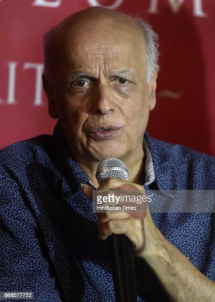 Mahesh Bhatt director in Bollywood interacrting with media persons during the visit at Partition Museum on April 14 2017 in Amritsar India Begum Jaan...