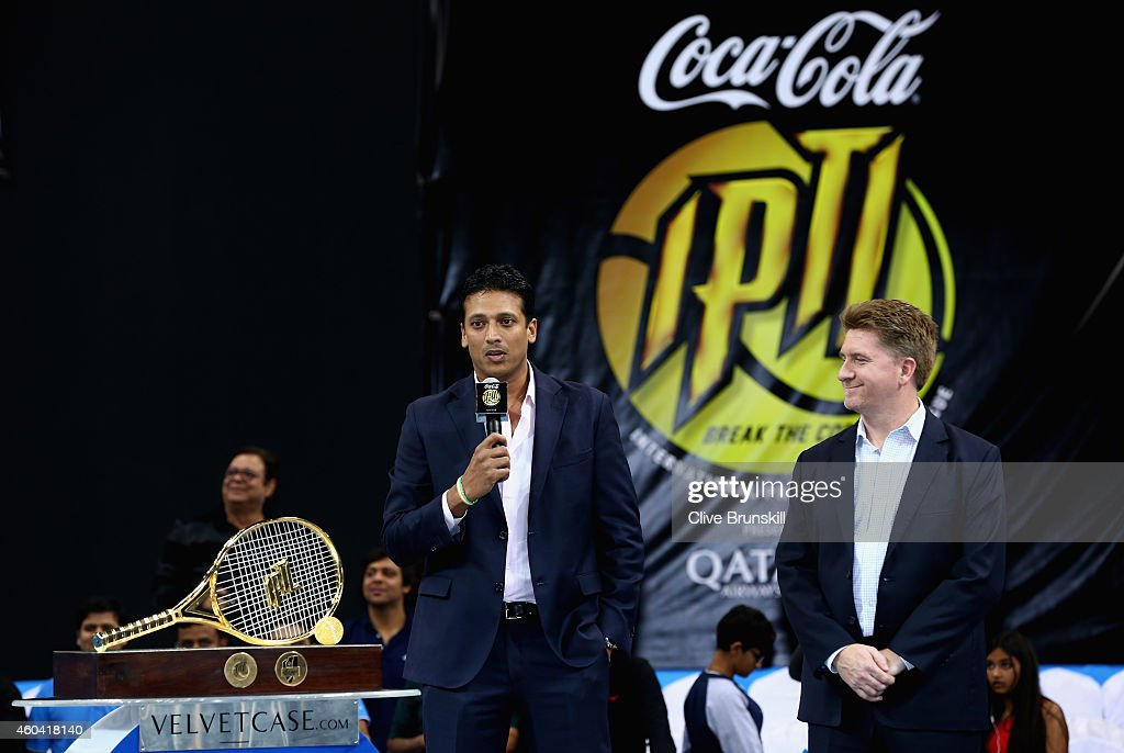 <a gi-track='captionPersonalityLinkClicked' href=/galleries/search?phrase=Mahesh+Bhupathi&family=editorial&specificpeople=171636 ng-click='$event.stopPropagation()'>Mahesh Bhupathi</a> Chairman and Founder of the IPTL makes a speach on stage before the trophy is presented to the Indian Aces during the Coca-Cola International Premier Tennis League fourth leg at the Hamdan Sports Complex, December 13, 2014 in Dubai.