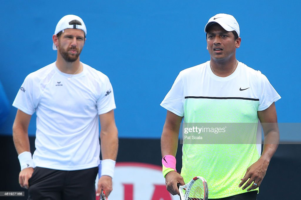 <a gi-track='captionPersonalityLinkClicked' href=/galleries/search?phrase=Mahesh+Bhupathi&family=editorial&specificpeople=171636 ng-click='$event.stopPropagation()'>Mahesh Bhupathi</a> of India and <a gi-track='captionPersonalityLinkClicked' href=/galleries/search?phrase=Jurgen+Melzer&family=editorial&specificpeople=200702 ng-click='$event.stopPropagation()'>Jurgen Melzer</a> of Austria in action in their first round doubles match against Diego Schwartzman of Argentina and Horacio Zeballos of Argentina during day four of the 2015 Australian Open at Melbourne Park on January 22, 2015 in Melbourne, Australia.