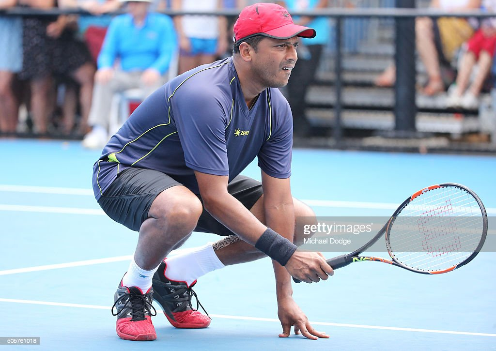 <a gi-track='captionPersonalityLinkClicked' href=/galleries/search?phrase=Mahesh+Bhupathi&family=editorial&specificpeople=171636 ng-click='$event.stopPropagation()'>Mahesh Bhupathi</a> of India in his first round doubles match against Alex Bolt and Andrew Whittington of Australia during day three of the 2016 Australian Open at Melbourne Park on January 20, 2016 in Melbourne, Australia.