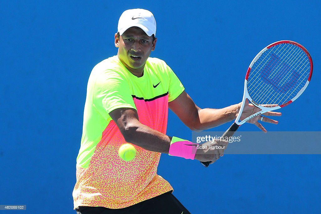 <a gi-track='captionPersonalityLinkClicked' href=/galleries/search?phrase=Mahesh+Bhupathi&family=editorial&specificpeople=171636 ng-click='$event.stopPropagation()'>Mahesh Bhupathi</a> of India plays a shot in their first round mixed doubles match with Jarmila Gajdosova of Australia against Hao-Ching Chan of Chinese Taipei and Jamie Murray of Great Britain during day six of the 2015 Australian Open at Melbourne Park on January 24, 2015 in Melbourne, Australia.