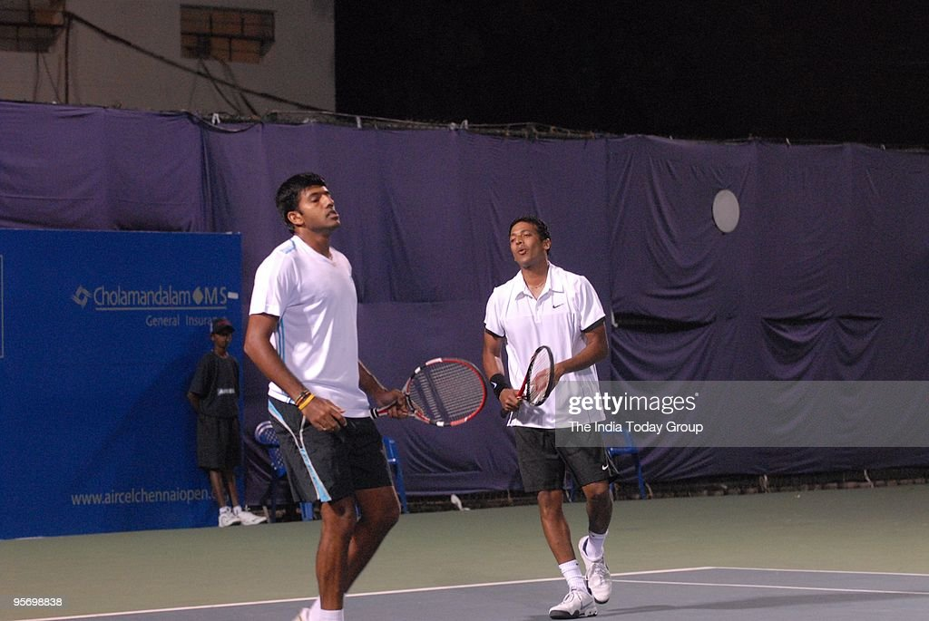 Mahesh Bhupati and Rohan Bopanna react during the 3rd day of Aircell Chennai Open 2010 in Chennai. The match was stopped due to rain.