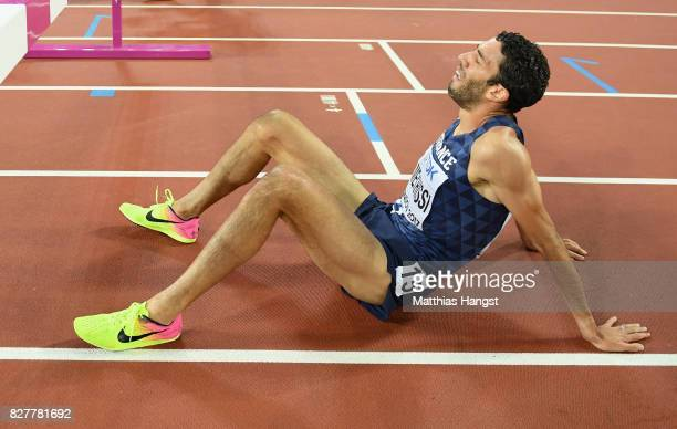 Mahiedine Mekhissi of France reacts after the Men's 3000 metres Steeplechase final during day five of the 16th IAAF World Athletics Championships...