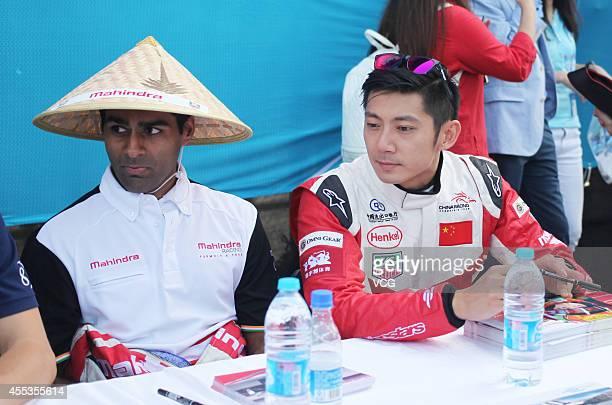 Mahindra Racing Formula E Team driver Karun Chandhok and China Racing team driver HoPin Tung attend a fan meeting during the 2014/2015 FIA Formula E...