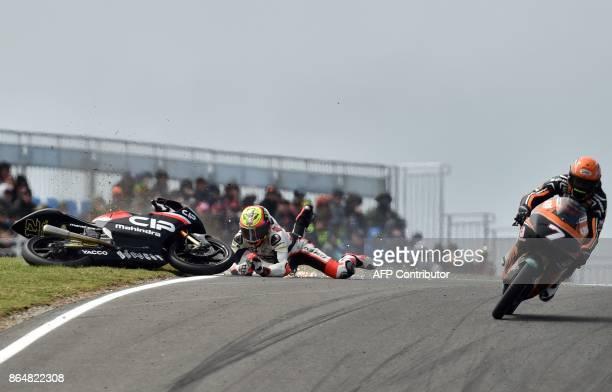 TOPSHOT Mahindra rider Marco Bezzecchi of Italy crashes during the Moto3class Grand Prix of the Australian MotoGP Grand Prix at Phillip Island on...