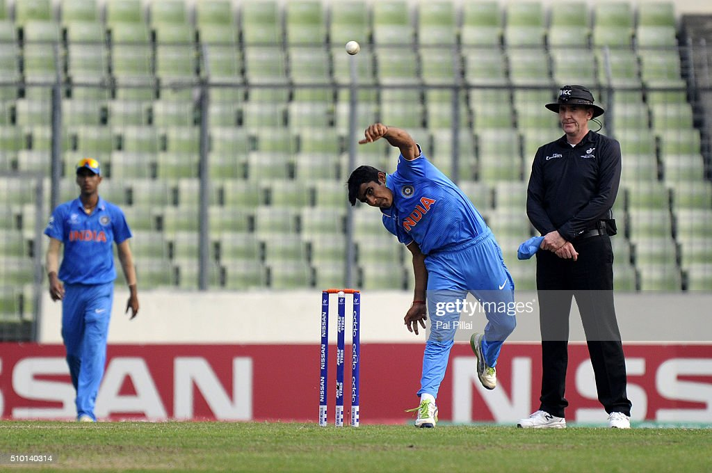 Mahipal Lomror of India bowls during the ICC U19 World Cup Final Match between India and West Indies on February 14, 2016 in Dhaka, Bangladesh.