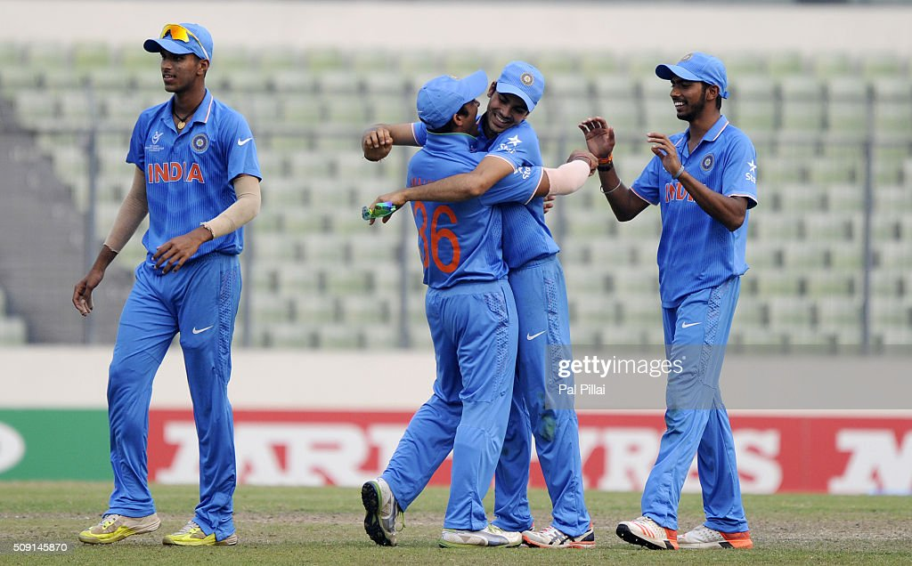 Mahipal Lomror of India celebrates with teammates as India qualifies for the ICC U19 World Cup Final after winning the Semi-Final match between India and Sri Lanka on February 9, 2016 in Dhaka, Bangladesh.
