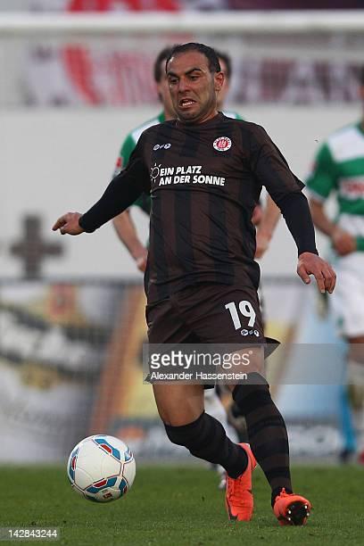 Mahir Saglik of Hamburg runs with the ball during the Second Bundesliga match between Greuther Fuerth and FC St Pauli at TrolliArena on April 13 2012...