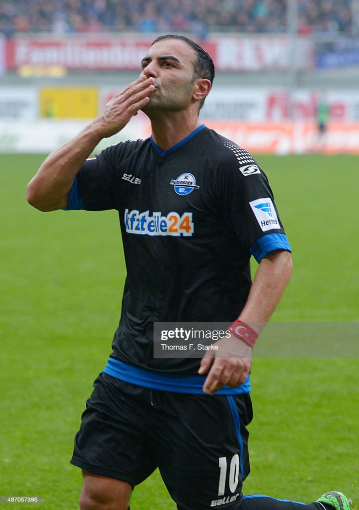 Mahir Saglik of Paderborn celebrates during the Second Bundesliga match between SC Paderborn and SV Sandhausen at Benteler Arena on April 27, 2014 in Paderborn, Germany.