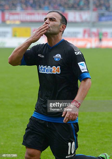 Mahir Saglik of Paderborn celebrates during the Second Bundesliga match between SC Paderborn and SV Sandhausen at Benteler Arena on April 27 2014 in...