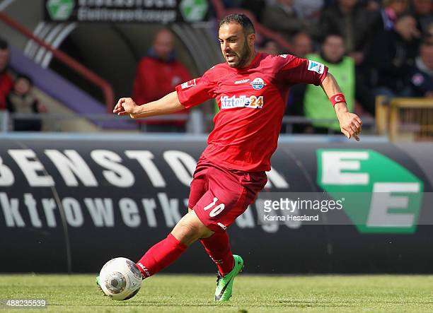Mahir Saglik of Paderborn during the 2nd Liga match between FC Erzgebirge Aue and SC Paderborn 07 at SparkassenErzgebirgsstadion on May 04 2014 in...