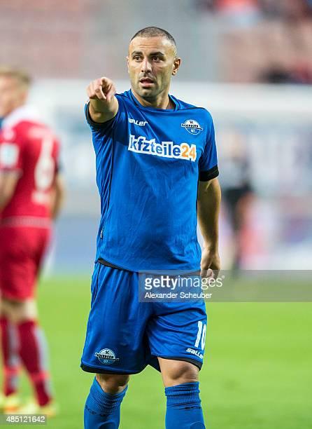 Mahir Saglik of SC Paderborn reacts during the second Bundesliga match between 1 FC Kaiserslautern and SC Paderborn at FritzWalterStadion on August...