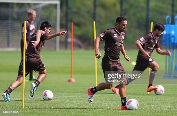 Mahir Saglik runs with the ball during the FC StPauli training session on August 1 2012 in Hamburg Germany