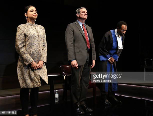 Mahira Kakkar Tony Carlin and Michael Rogers attend 'The Trial Of An American President' Curtain Call at Theatre Row's Lion Theatre on September 29...