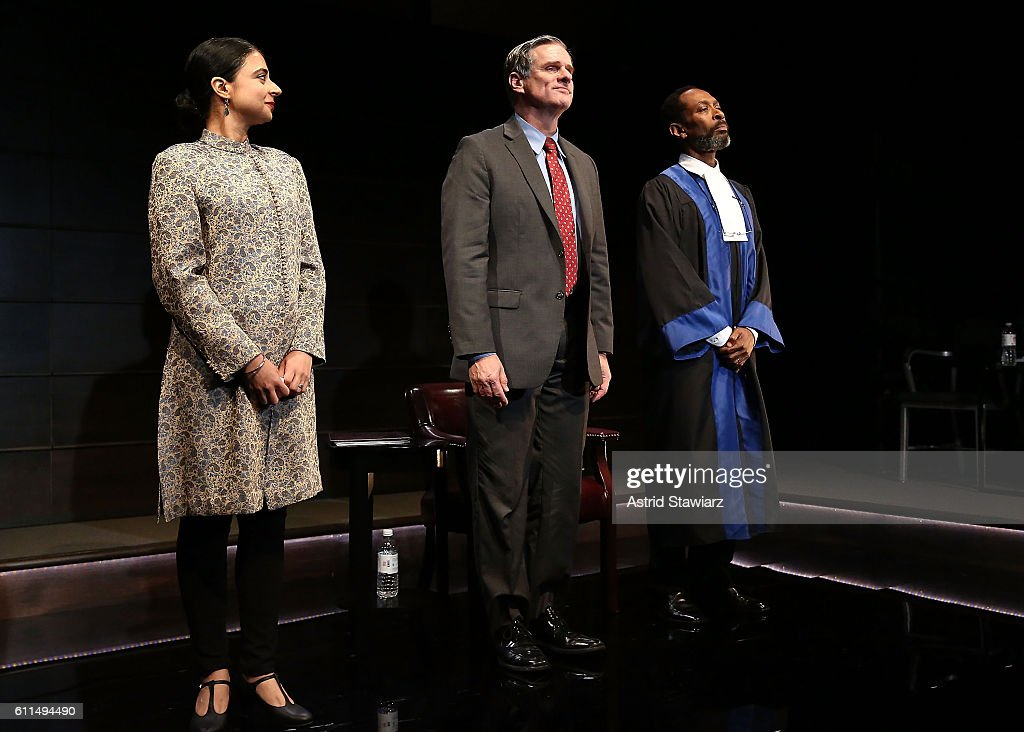 Mahira Kakkar, Tony Carlin and Michael Rogers attend 'The Trial Of An American President' - Curtain Call at Theatre Row's Lion Theatre on September 29, 2016 in New York City.