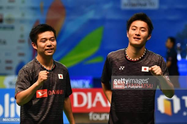 Mahiro Kaneko and Yunosuke Kubota of Japan celebrate victory after beating Di Zijian and Wang Chang of China during Men's Doubles Final match of the...