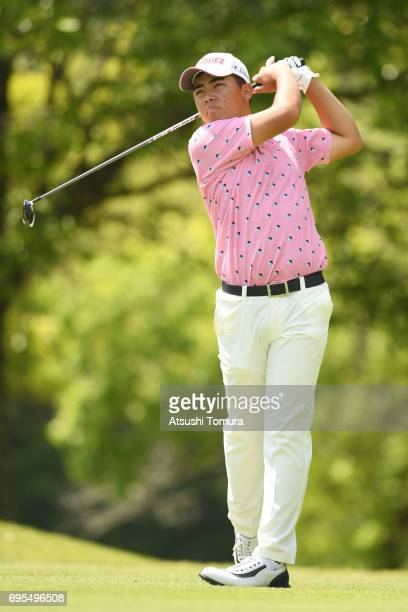 Mahiro Sanda of Japan hits his tee shot on the 18th hole during the first round of the 2017 TOYOTA Junior Golf World Cup at the Chukyo Golf Club...