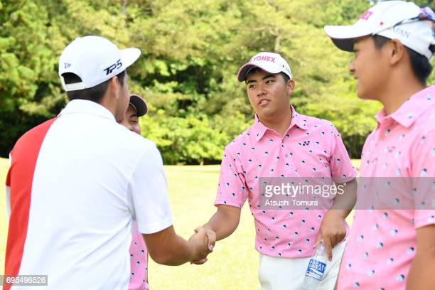 Mahiro Sanda of Japan shakes hand during the first round of the 2017 TOYOTA Junior Golf World Cup at the Chukyo Golf Club Ishino Course on June 13...