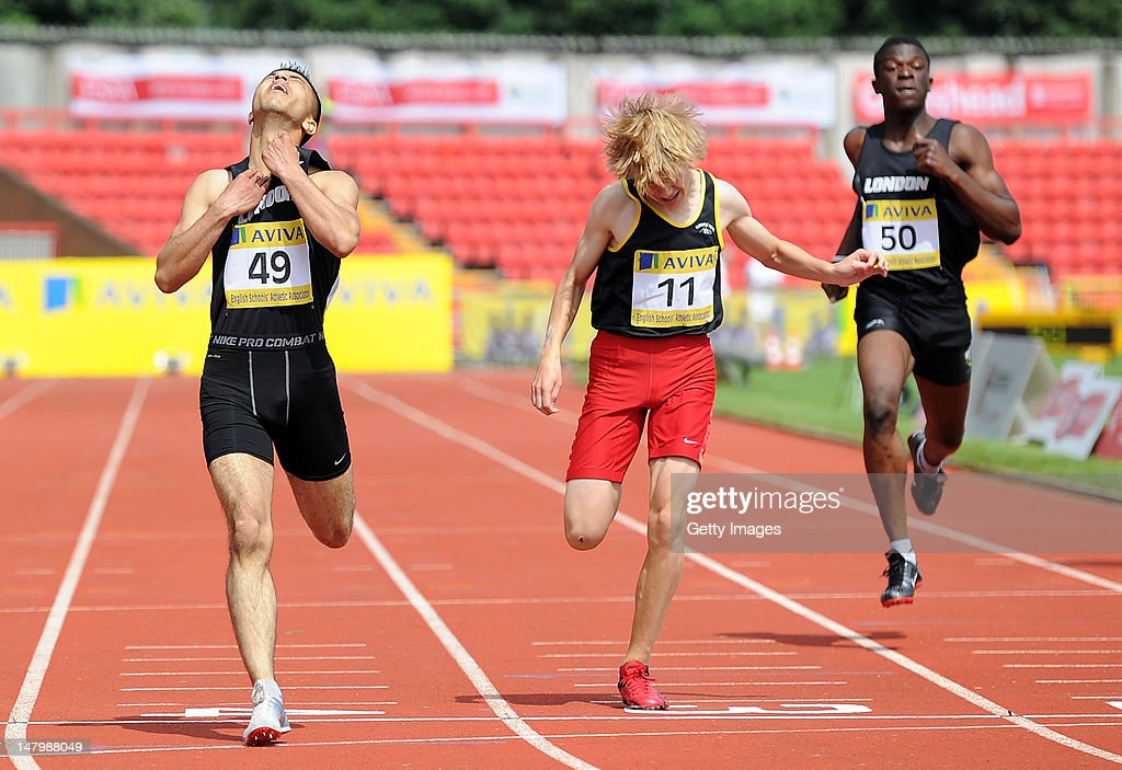 Mahmood Khaisto(L) of London reacts after crossing the line to win the Junior Boys 400 Metres during Day 2 of the Aviva English Schools Track & Field Championships at the Gateshead International Stadium on July 7 in Gateshead, England. Search Aviva Athletics on Facebook to Back the Team.