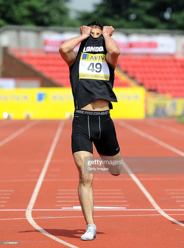 Mahmood Khaisto of London reacts after crossing the line to win the Junior Boys 400 Metres during Day 2 of the Aviva English Schools Track & Field Championships at the Gateshead International Stadium on July 7 in Gateshead, England. Search Aviva Athletics on Facebook to Back the Team.