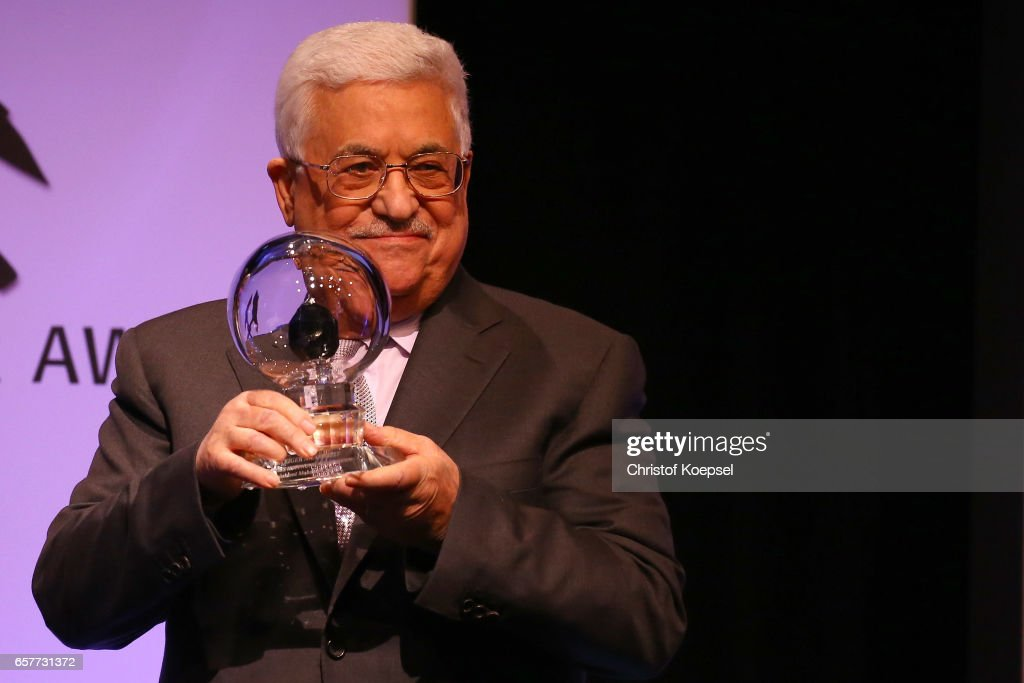 Mahmoud Abbas, president of Palestina presents the hope of peace award during the Steiger Award on at Coal Mine Hansemann 'Alte Kaue' March 25, 2017 in Dortmund, Germany.