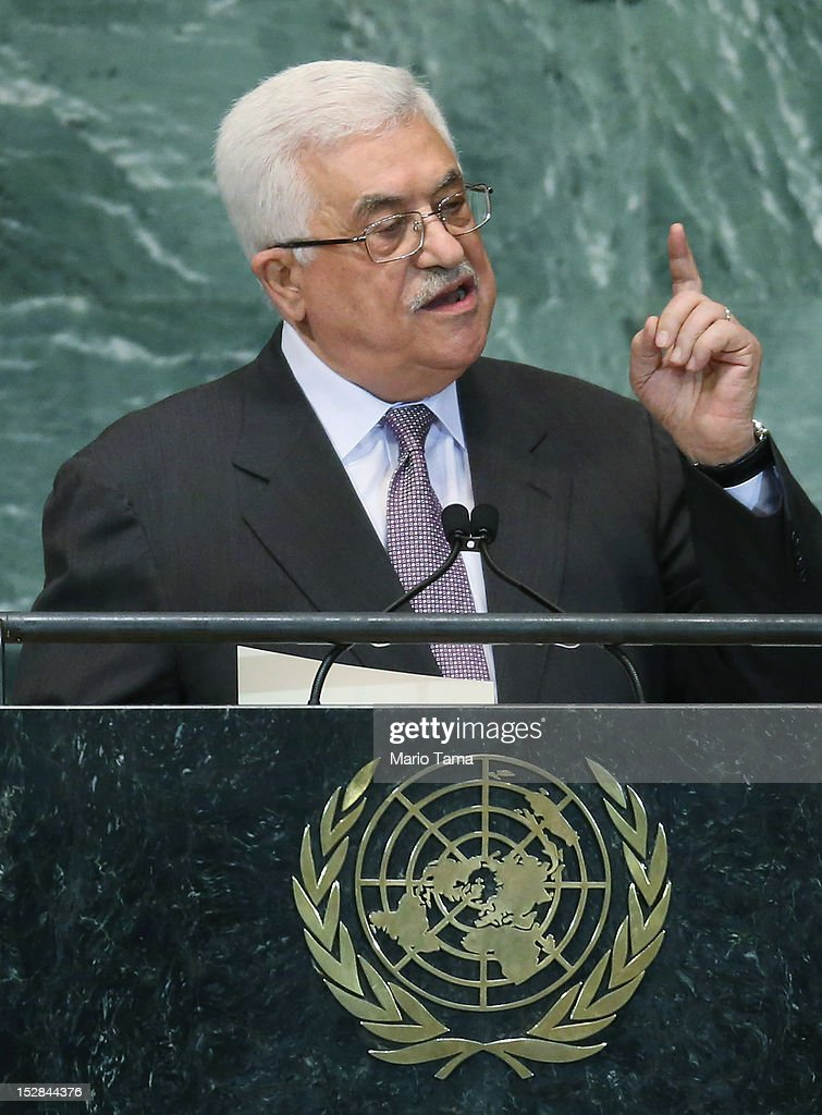 <a gi-track='captionPersonalityLinkClicked' href=/galleries/search?phrase=Mahmoud+Abbas&family=editorial&specificpeople=176534 ng-click='$event.stopPropagation()'>Mahmoud Abbas</a>, President of the Palestinian Authority, addresses the United Nations General Assembly on September 27, 2012 in New York City. The 67th annual event gathers more than 100 heads of state and government for high level meetings on nuclear safety, regional conflicts, health and nutrition and environment issues.