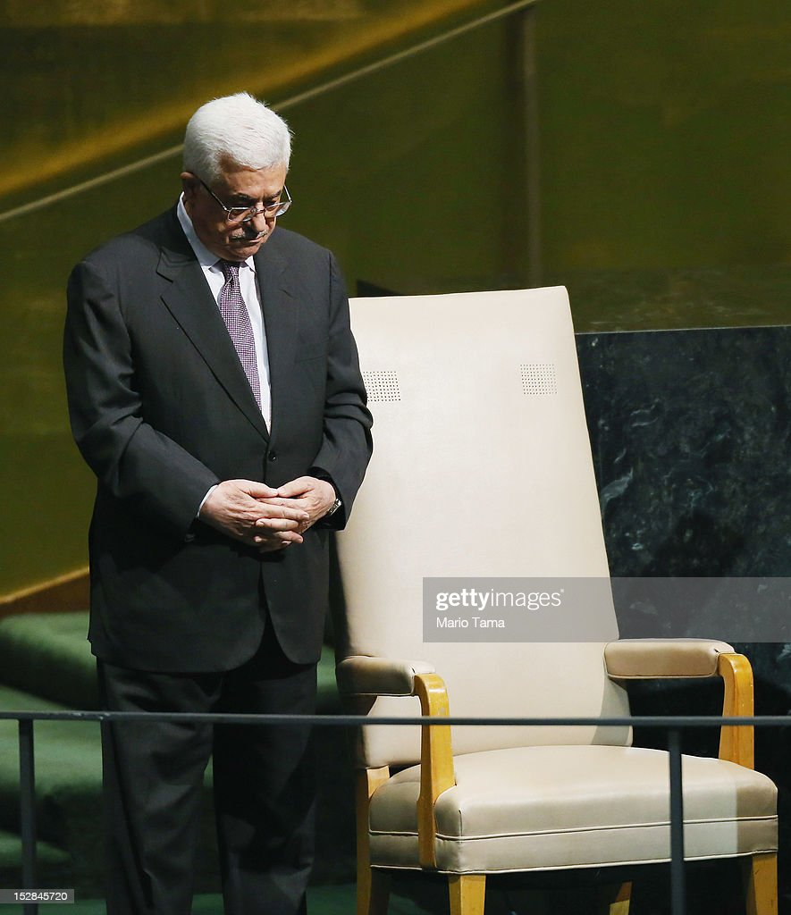 Mahmoud Abbas, President of the Palestinian Authority, pauses after addressing the United Nations General Assembly on September 27, 2012 in New York City. The 67th annual event gathers more than 100 heads of state and government for high level meetings on nuclear safety, regional conflicts, health and nutrition and environment issues.