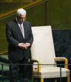 Mahmoud Abbas President of the Palestinian Authority pauses after addressing the United Nations General Assembly on September 27 2012 in New York...