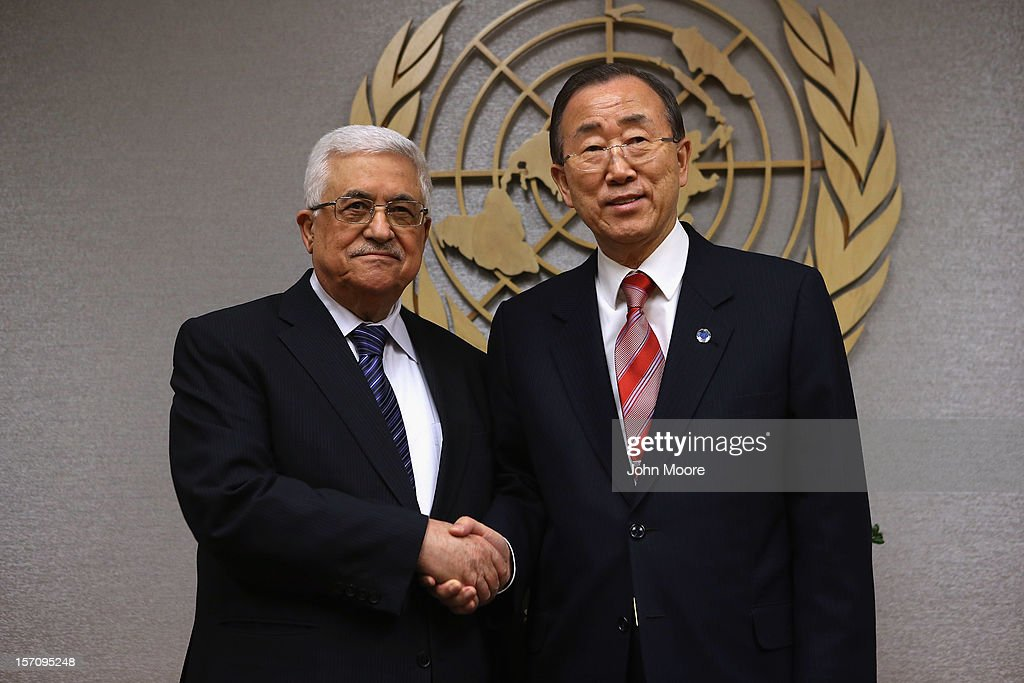 Mahmoud Abbas President of the Palestinian National Authority and United Nations Secretary General Ban Kimoon pose for photos at UN headquarters on...