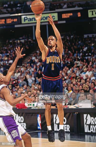 Mahmoud Abdul Rauf of the Denver Nuggets shoots against the Sacramento Kings circa 1996 at Arco Arena in Sacramento California NOTE TO USER User...