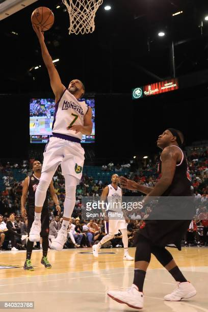Mahmoud AbdulRauf of 3 Headed Monsters during the BIG3 three on three basketball league championship game on August 26 2017 in Las Vegas Nevada
