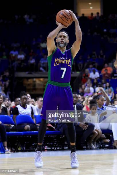 Mahmoud AbdulRauf of the 3 Headed Monsters attempts a shot during the game against Power during week three of the BIG3 three on three basketball...