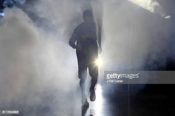 Mahmoud AbdulRauf of the 3 Headed Monsters is introduced during week three of the BIG3 three on three basketball league at BOK Center on July 9 2017...