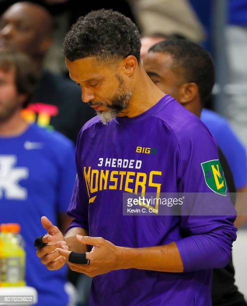 Mahmoud AbdulRauf of the 3 Headed Monsters prays during the National Anthem during week seven of the BIG3 three on three basketball league at Rupp...
