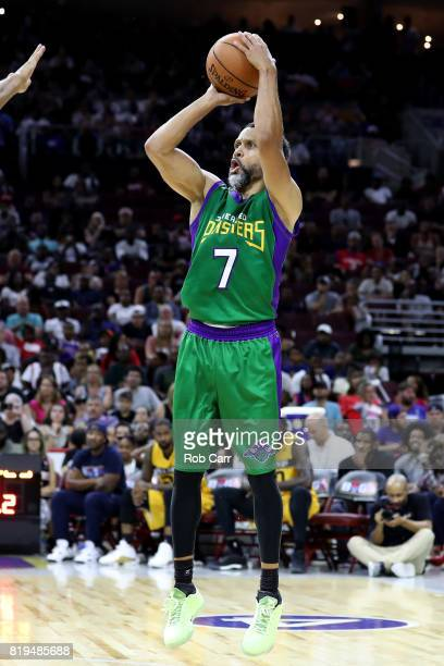 Mahmoud AbdulRauf of the 3 Headed Monsters shoots in the game against the Killer 3s during week four of the BIG3 three on three basketball league at...