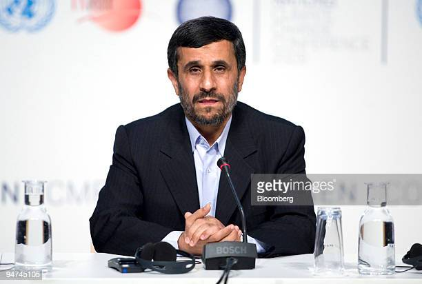 Mahmoud Ahmadinejad Iran's president speaks at a press conference on the final day of the COP15 United Nations Climate Change Conference at the Bella...