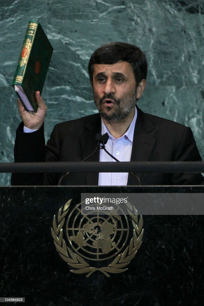 <a gi-track='captionPersonalityLinkClicked' href=/galleries/search?phrase=Mahmoud+Ahmadinejad&family=editorial&specificpeople=221337 ng-click='$event.stopPropagation()'>Mahmoud Ahmadinejad</a>, President of the Islamic Republic of Iran holds up a Qur'an during his address at the 65th session of the General Assembly at the United Nations on September 23, 2010 in New York City. Leaders and diplomats from around the world are in New York City for the United Nations yearly General Assembly.