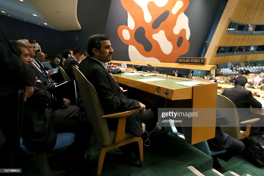 Mahmoud Ahmadinejad President of the Islamic Republic of Iran sits with his delegation before addressing the UN General Assembly on September 26 2012...