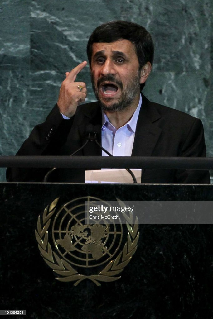 <a gi-track='captionPersonalityLinkClicked' href=/galleries/search?phrase=Mahmoud+Ahmadinejad&family=editorial&specificpeople=221337 ng-click='$event.stopPropagation()'>Mahmoud Ahmadinejad</a>, President of the Islamic Republic of Iran addresses the 65th session of the General Assembly at the United Nations on September 23, 2010 in New York City. Leaders and diplomats from around the world are in New York City for the United Nations yearly General Assembly.