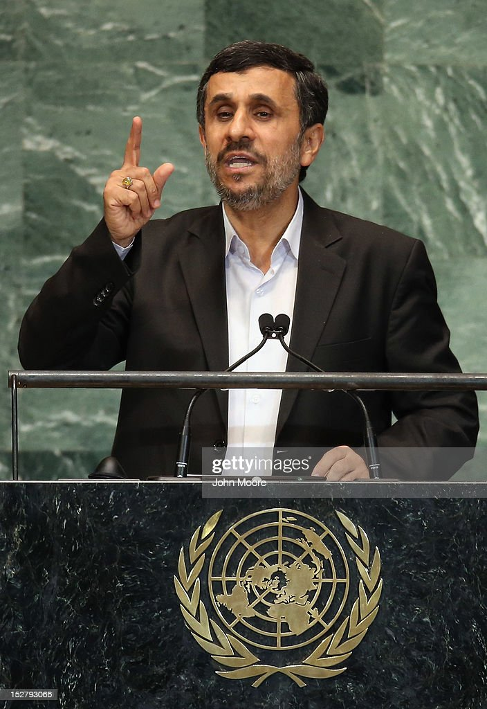<a gi-track='captionPersonalityLinkClicked' href=/galleries/search?phrase=Mahmoud+Ahmadinejad&family=editorial&specificpeople=221337 ng-click='$event.stopPropagation()'>Mahmoud Ahmadinejad</a>, President of the Islamic Republic of Iran, addresses the UN General Assembly on September 26, 2012 in New York City. The 67th annual event gathers more than 100 heads of state and government for high level meetings on nuclear safety, regional conflicts, health and nutrition and environment issues.