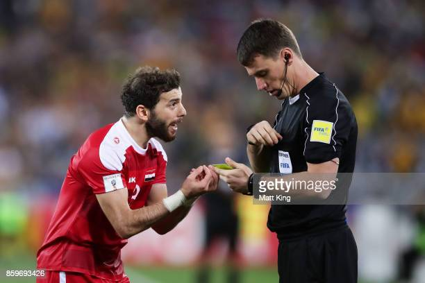 Mahmoud Al Mawas of Syria argues after he was given a red card during the 2018 FIFA World Cup Asian Playoff match between the Australian Socceroos...