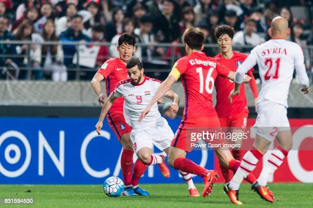 Mahmoud Al Mawas of Syria in action during their 2018 FIFA World Cup Russia Final Qualification Round Group A match between Korea Republic and Syria...