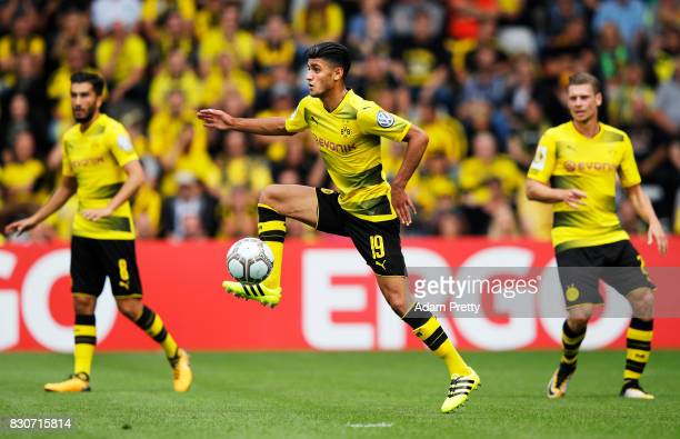 Mahmoud Dahoud of Borussia Dortmund in action during the DFB Cup match between 1 FC RielasingenArlen and Borussia Dortmund at SchwarzwaldStadion on...