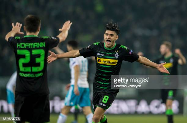 Mahmoud Dahoud of Borussia Moenchengladbach celebrate after he scores his teams second goal during the UEFA Europa League match between Borussia...