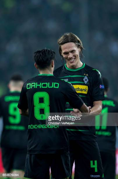 Mahmoud Dahoud of Borussia Moenchengladbach celebrate with his team mate Jannik Vestergaard after he scores his teams second goal during the UEFA...