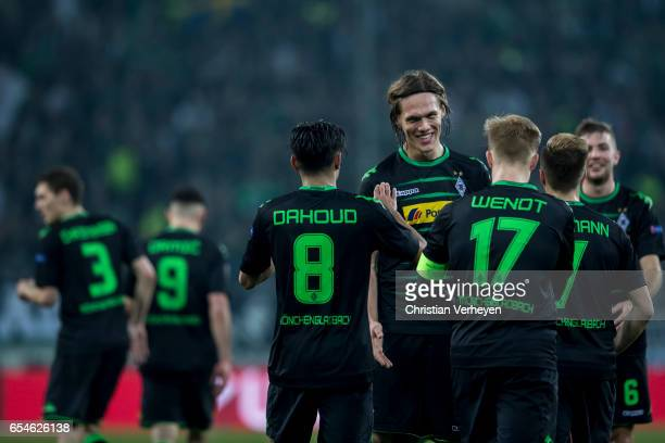 Mahmoud Dahoud of Borussia Moenchengladbach celebrate with his team mates after he scores his teams second goal during the UEFA Europa League match...