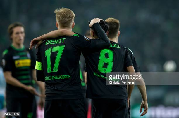 Mahmoud Dahoud of Borussia Moenchengladbach celebrate with his team mate Oscar Wendt after he scores his teams second goal during the UEFA Europa...